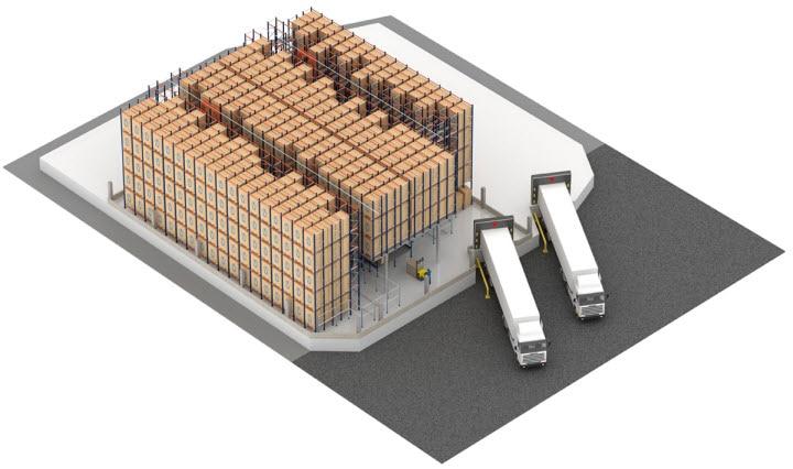 Système Pallet Shuttle automatique avec transstockeur dans l'entrepôt de Pastelaria e Confeitaria Rolo